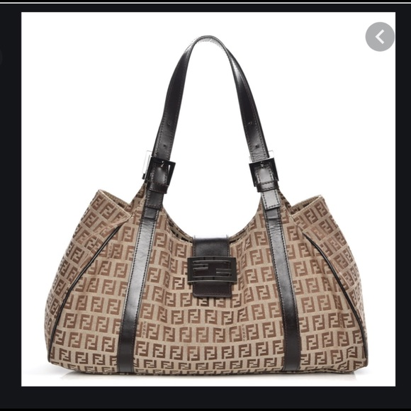 Authentic FENDI Zucca brown shoulder bag